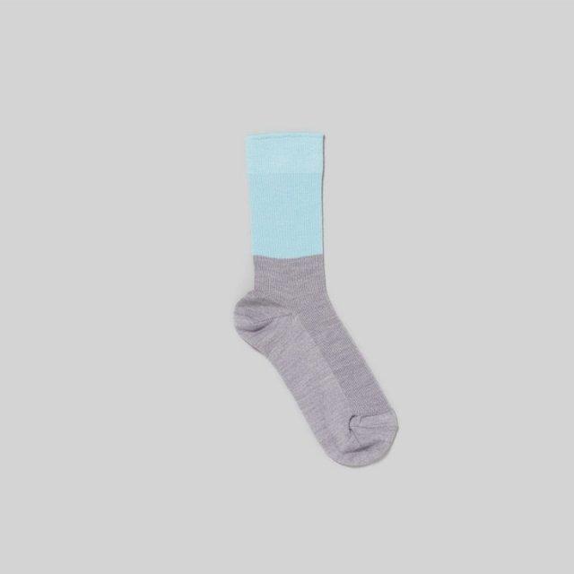 【_Fot/ フォート】wool socks light blue light gray
