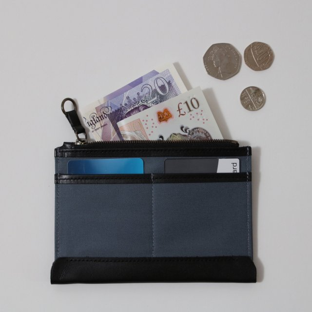 【POSTALCO】INNER WALLET SMALL BLUE/BLACK LEATHER