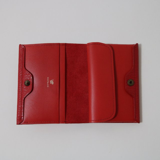 【POSTALCO】ALL LEATHER GEOLOGY ROLL WALLET RED