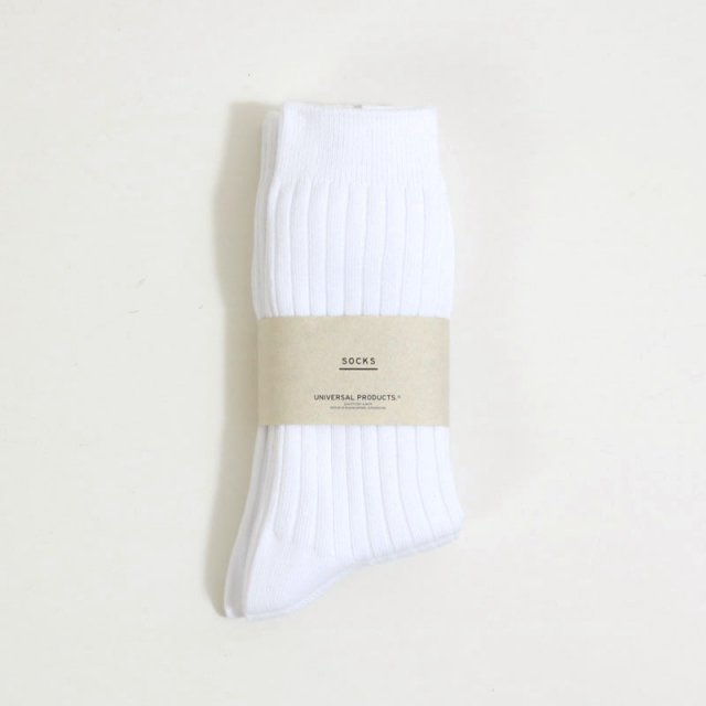 【UNIVERSAL PRODUCTS ユニバーサルプロダクツ】3P COLOR SOCKS WHITE