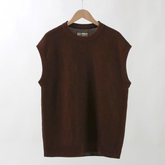 【30%OFF】【unfil / アンフィル】FRENCH LINEN HONEYCOMB KNIT VEST BROWN MIX