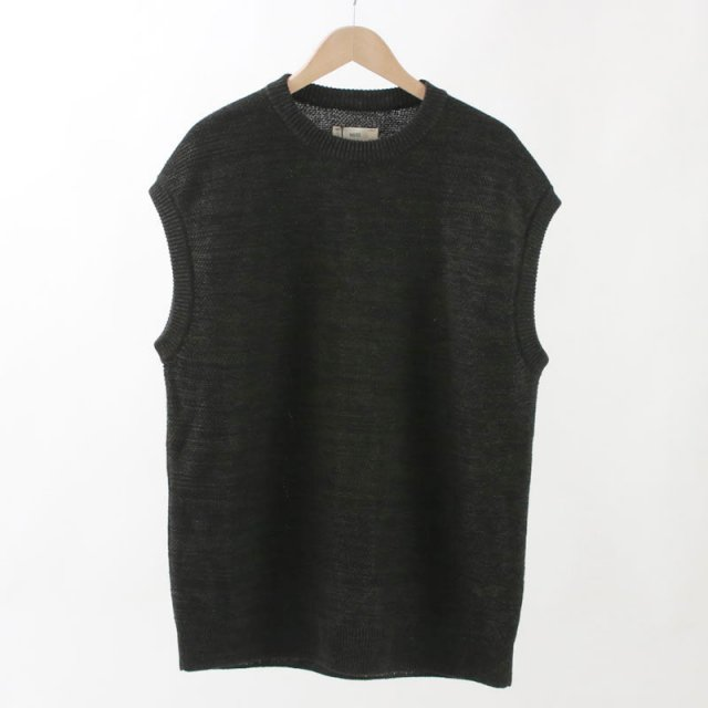 【unfil / アンフィル】FRENCH LINEN HONEYCOMB KNIT VEST BLACK MIX