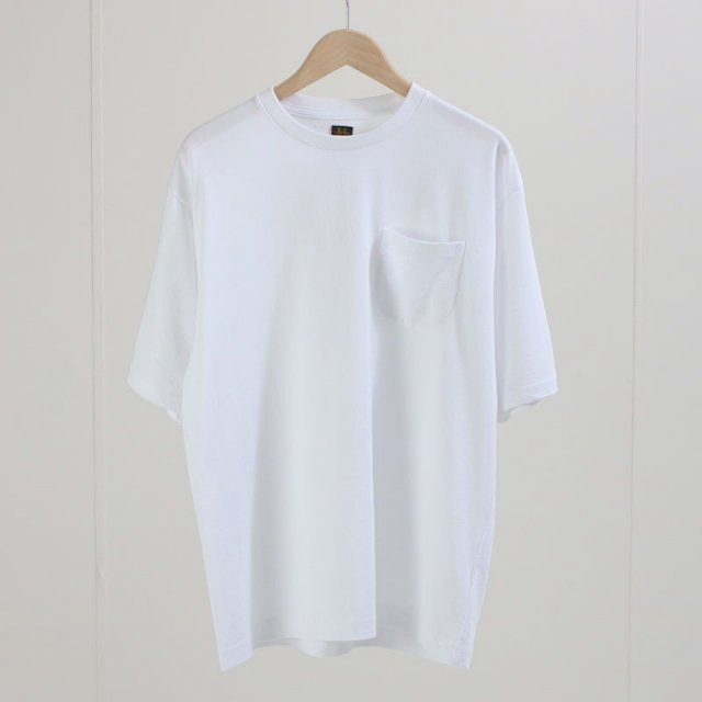 【BATONERバトナーメンズ】TWIST HIGH GAUGE TERRY POCKET T-SHIRT WHITE