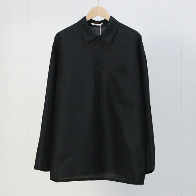 【2021 S/S】【AURALEE オーラリー】SILK LINEN DOBBY SHIRTS JACKET BLACK