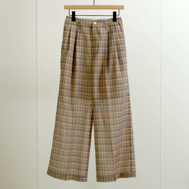【2021 S/S】【AURALEE オーラリーレディース】WOOL RECYCLE POLYESTER SHEER CHECK PANTS MIX BLUE CHECK