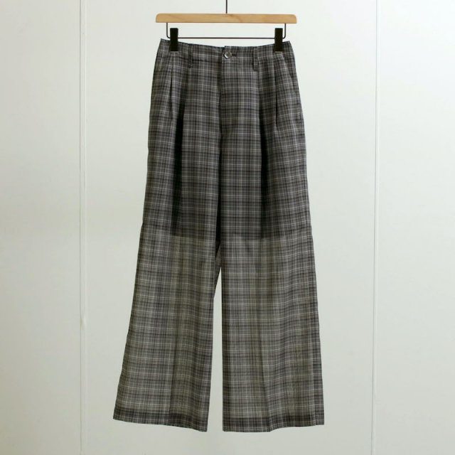 【2021 S/S】【AURALEE オーラリーレディース】WOOL RECYCLE POLYESTER SHEER CHECK PANTS BLACK CHECK