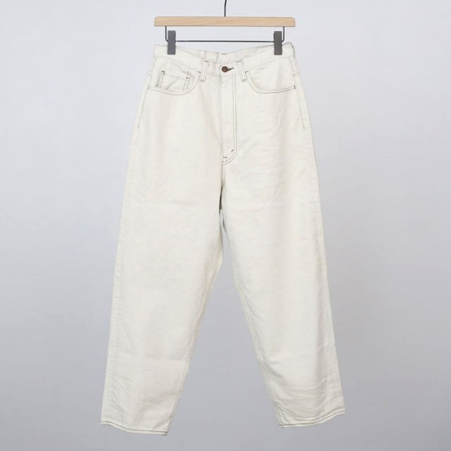 【2021 S/S】【unfil / アンフィル】12oz cotton denim 5pocket wide tapered pants ecru beige