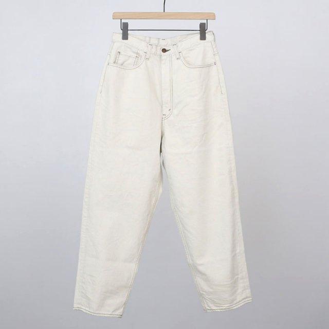 【30%OFF】【2021 S/S】【unfil / アンフィル】12oz cotton denim 5pocket wide tapered pants ecru beige