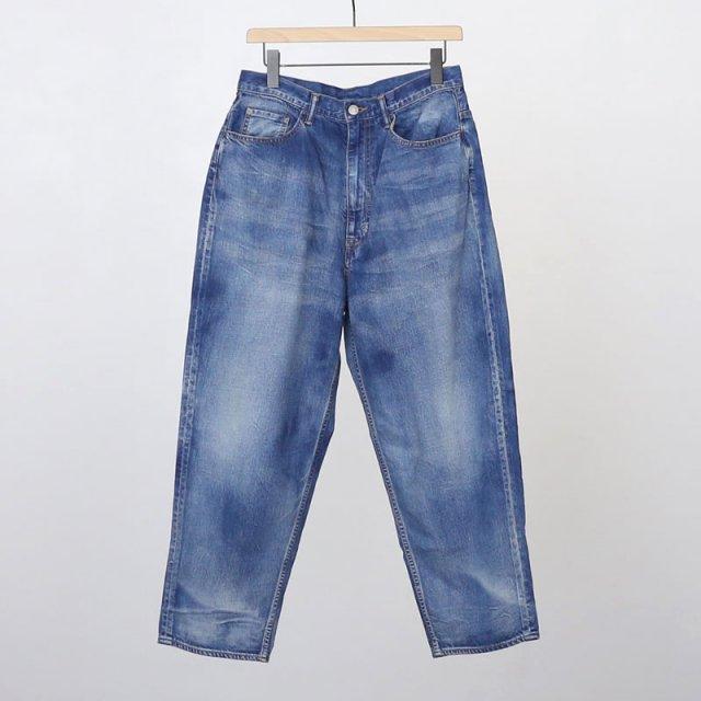【2021 S/S】【unfil / アンフィル】12oz cotton denim 5pocket wide tapered pants indigo gray