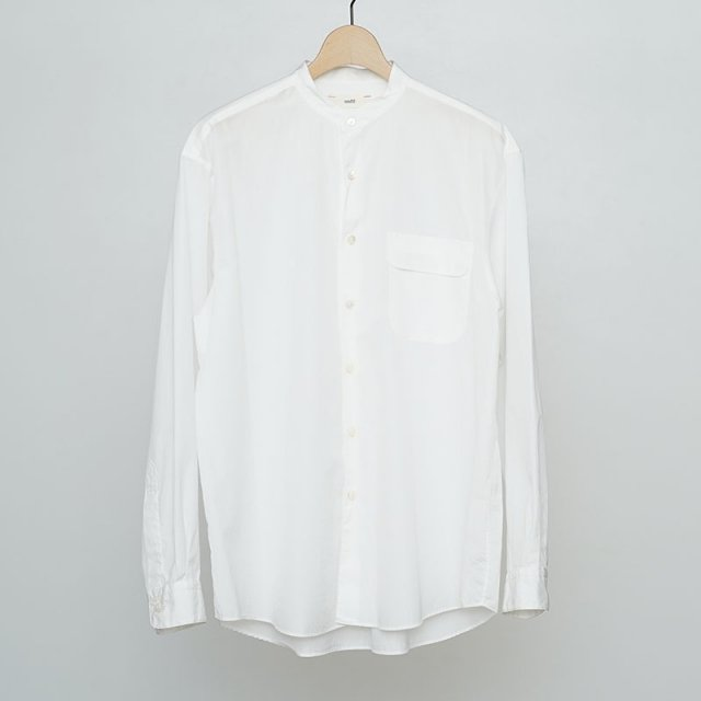 【2021 S/S】【unfil / アンフィル】washed cotton-poplin band collar shirt off white