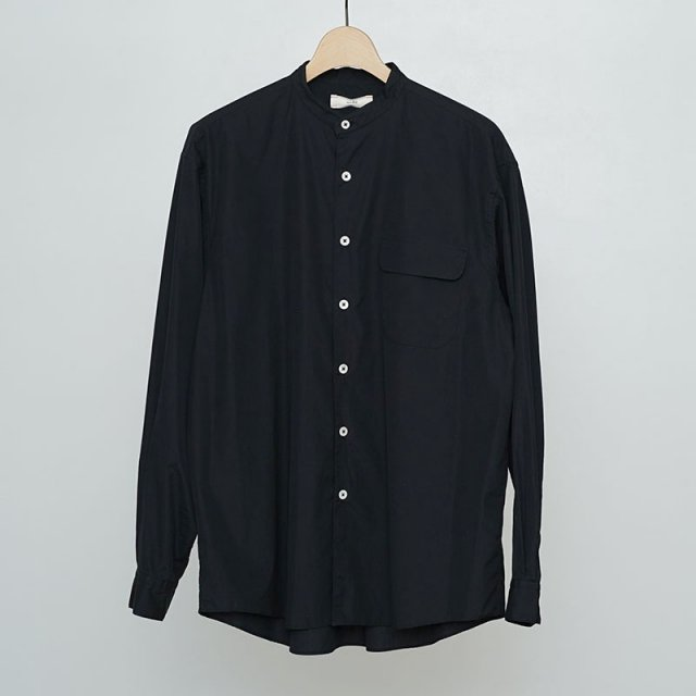 【2021 S/S】【unfil / アンフィル】washed cotton-poplin band collar shirt black navy