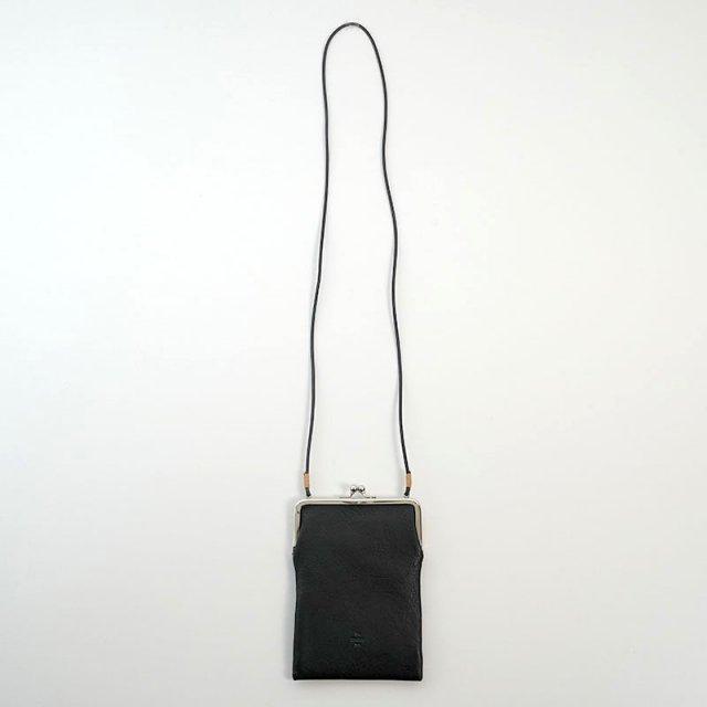 【20/80 トウェンティーエイティー】SHRINK LEATHER GAMAGUCHI SQUARE SHOULDER BAG BLACK