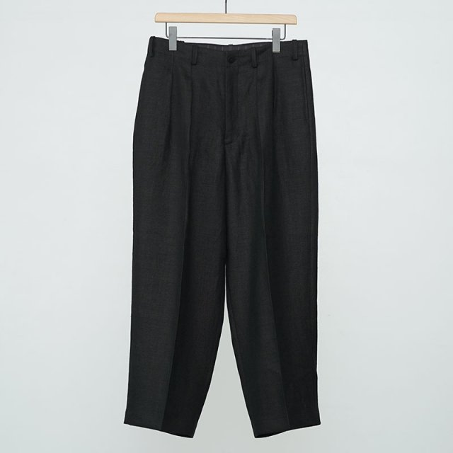 【2021 S/S】【Gorsch the seamster ゴーシュザシームスター】High Waist Two In Tacks French Linen Trausers BLACK