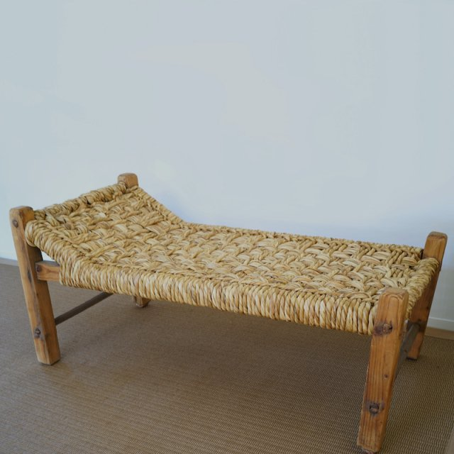 Straw Seat SofaBench / France / c.1950s