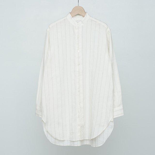 【2021 S/S】【Phlannel フランネル】American Sea Island Linen Band Collar Shirt Stripe