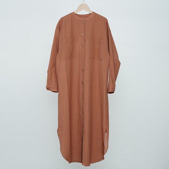 【20%OFF】【2021 S/S】【Phlannel フランネル】Cotton Silk Khadi Shirt Dress Pink Brown