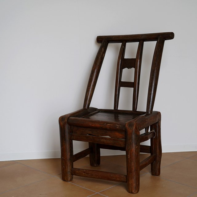 Antique Chinese HandCarved Wood Mini Chair / 19th Century