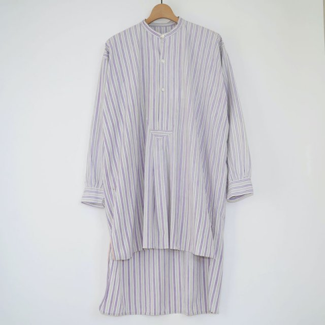 【VINTAGE / USED WEAR】Antique Grandpa Shirt / WHITE-PURPLE