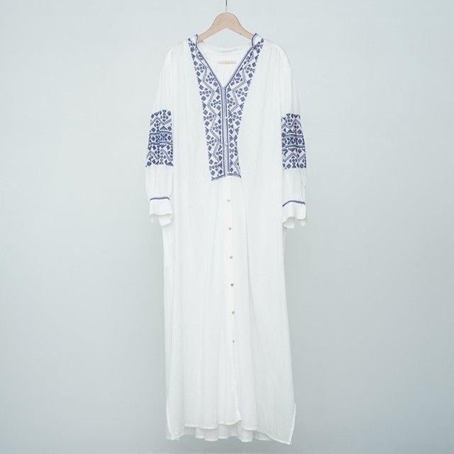 【2021S/S】【ne Quittez pas ヌキテパ】Cotton Dobby Stripe Emb Dress