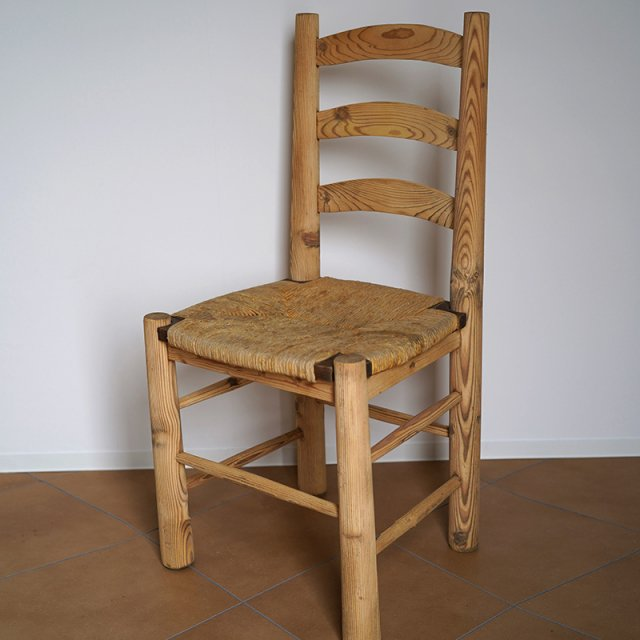 Rush Natural Wood Chair / France / 50s