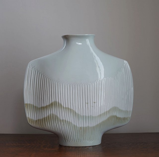 Vase Porcelaine Virebent by Yves Mohy / France / 70s