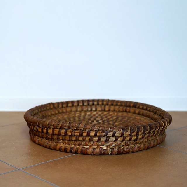 French Old Basket on Strow&Rattan / Plate / 60s