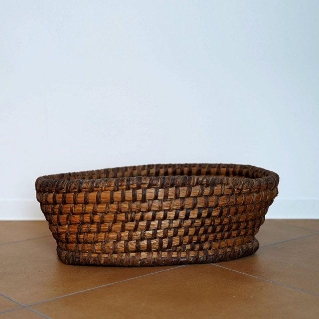 French Old Basket on Strow&Rattan 2/ Oval / 60s