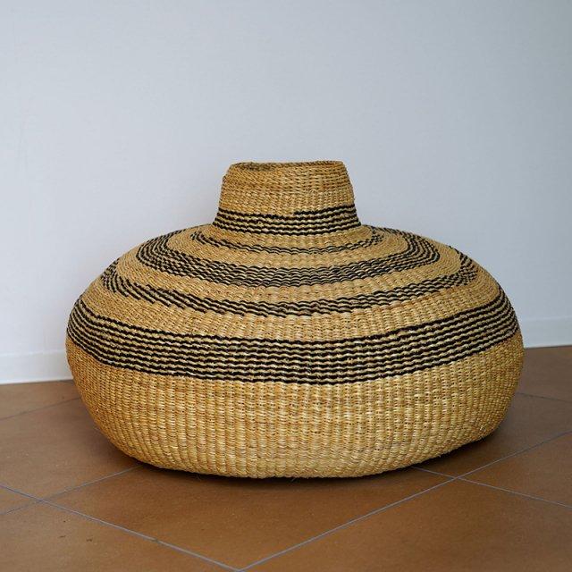 African HandWeaving basket / Big Flat Vase