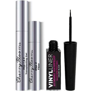 ☆≪販売終了≫Cherry Blooms Fiber Lash Extensions + Waterproof Liquid Eyeliner チェリーブルームス 塗る睫毛エクステセット+アイライナー