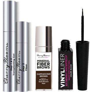 ☆≪販売終了≫Cherry Blooms Fiber Lashes + Brows Kit + Free Waterproof Eyeliner チェリーブルームス エクステ+眉マスカラ+アイライナー
