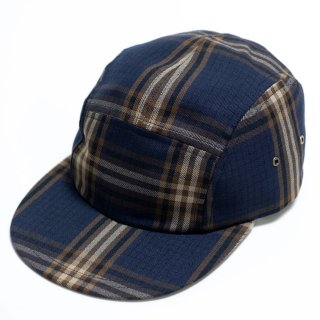 PASSOVER 20th BY WED STORE  PLAID CAMP CAP NAVY/BEIGE/BROWN