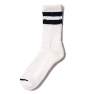 COMFY SOCKS  LINE LOW CREW WHITE/NAVY
