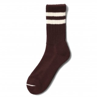 COMFY SOCKS  LINE LOW CREW BROWN/CREAM