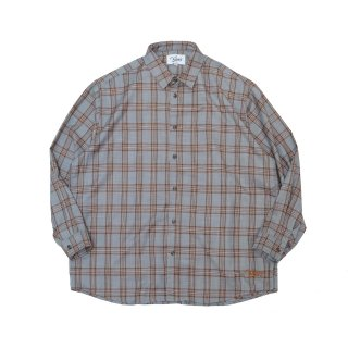 KEBOZ WIDE CHECK SHIRTS LIGHT GREY/ORANGE