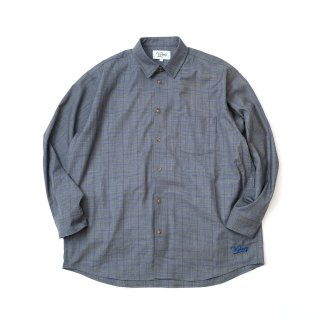 KEBOZ WIDE CHECK SHIRTS DARK GREY/BLUE