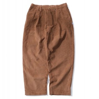KEBOZ CORDUROY WIDE TAPERED PANTS BROWN