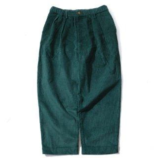 KEBOZ CORDUROY WIDE TAPERED PANTS GREEN