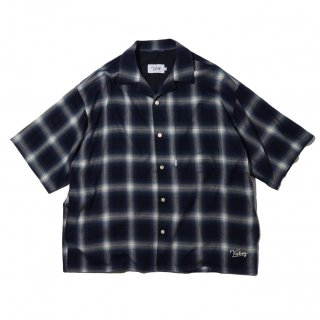 KEBOZ x FREAK'S STORE SPECIAL OMBRE CHECK SHIRTS SHORT SLEEVE NAVY