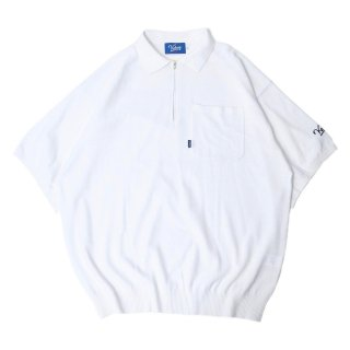 KEBOZ HALF ZIP KNIT POLO WHITE