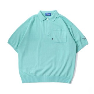 KEBOZ HALF ZIP KNIT POLO MINT