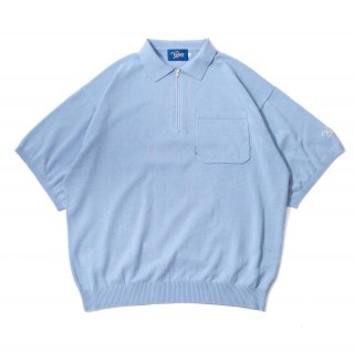KEBOZ HALF ZIP KNIT POLO LIGHT BLUE