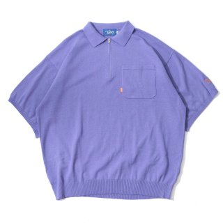 KEBOZ HALF ZIP KNIT POLO LIGHT PURPLE