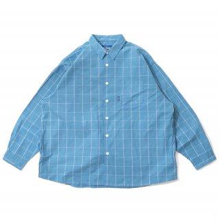 KEBOZ WINDOWPANE SHIRTS SAX BLUE