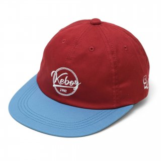 KEBOZ COTTON TWILL CAP RED/SKY BLUE