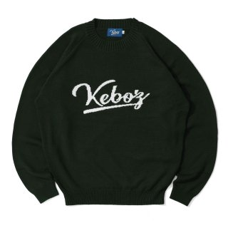KEBOZ COTTON KNIT SWEATER FOREST GREEN/OFF WHITE
