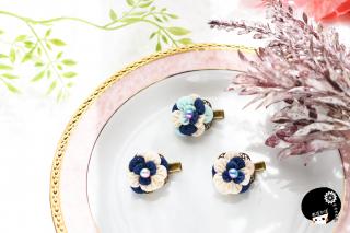 ふんわりフリルのようなお花〜青色ミックス つまみ細工 <br>3300円(税込)