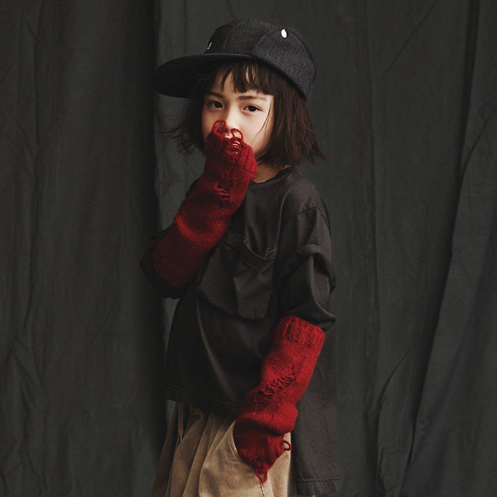 【50%OFFセール】GRIS(グリ)2018aw<br> L/S T-Shirt charcoal <BR> レイヤードコットンTシャツ