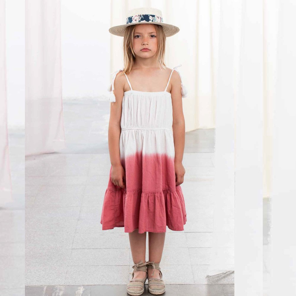 【40%OFFセール】tocoto vintage(トコト ヴィンテージ)2019SS <br>Tie dye long dress<BR>with pom pom strings(ワンピース)