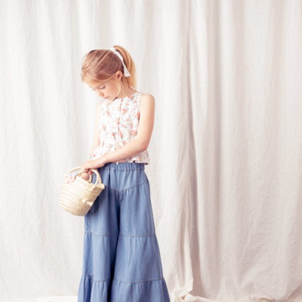 【30%OFFセール】tocoto vintage(トコト ヴィンテージ)2020SS <br>sleeveless flower blouse<BR>ウエストリボン花柄ノースリーブブラウス