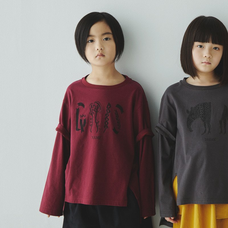 【30%OFFセール】GRIS(グリ)2020aw<br>Layered Print T-shirt NAME<BR>rose<BR>レイヤードプリント長袖Tシャツ<BR>(カットソー)